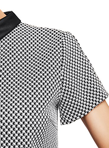oodji Ultra Femme Robe Coupe Ample avec Col en Similicuir Gris (2912G)