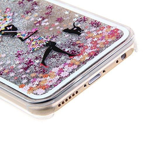 Voguecase® für Apple iPhone 5C , Flüssig Fließende Sparkly Bling Glitzer Stern Treibsand Star Quicksand (Harte Rückseite) Hybrid Hülle Schutzhülle Case Cover (Silber/Löwenzahn) + Gratis Universal Eing Silber/Bunte Regenschirm Mädchen