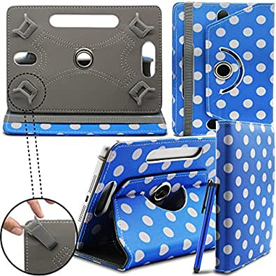 """Gadget Giant Retro Designer Asus Memo Pad HD 7 Universal 7"""" 7 Inch Tablet Leather Folding Folio Stand Case Cover Pouch With Adjustable Multi Point Stand - Blue & White Polka Dot Dots"""
