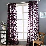 SEAWOOD 2Blatt Tüll Tür Fenster Vorhang Tuch Panel Sheer Schal Volants–Schwarz, rot, Einheitsgröße