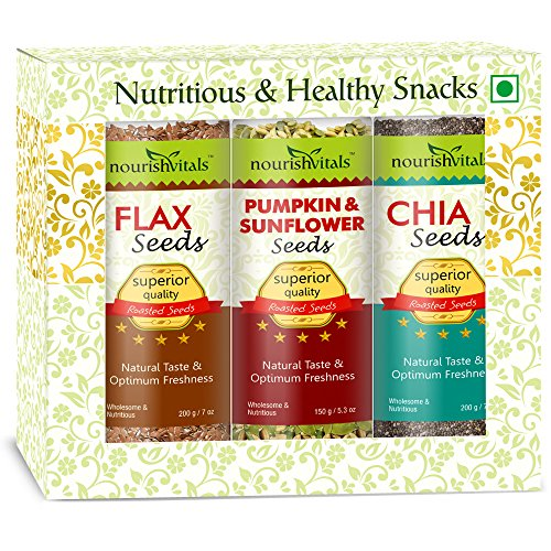 Nourish Vitals Diwali Gift Box - Roasted Flax + Pumpkin & Sunflower + Chia Seeds (Superior Quality) Gift Box  available at amazon for Rs.1061