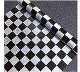@ Ammwzl-Mosaic Aufkleber Badezimmer Fliesen Badezimmer wasserdicht Tapete Selbstklebende Stock Aufkleber Home Küche Ölbeständig 45cmx10M, Schwarze und Weiße Gitter