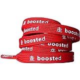 LaceHype® | Sneaker Schnürsenkel BOOSTED UP in Schwarz/Weiß/Rot/Grau geeignet für Ultra Boost und NMD Sportschuhe | Länge 95CM/80CM | 1 Paar Premium Sneaker Laces