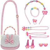 DECARETA Schmuckset Mädchen Kinder Handtasche mit Halskette Kinderschmuck Kleine Mädchen Handtasche mit Halskette Armband Ri