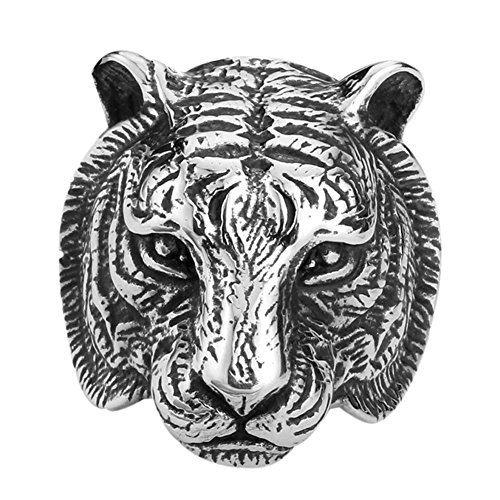 Men's 316L Stainless Steel Vintage Black Fierce Tiger Head Punk Rock Ring