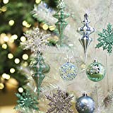 Valery Madelyn 60 Pcs 60-151mm Winter Wishes Blue Green Silver White Shatterproof Christmas Baubles Tree Ball Decorations, 60 Pcs Metal Hooks Included