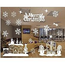 Tuopuda® Cabina de Navidad la decoración del hogar de vinilo ventana pegatinas de pared decorativos (copos de nieve)