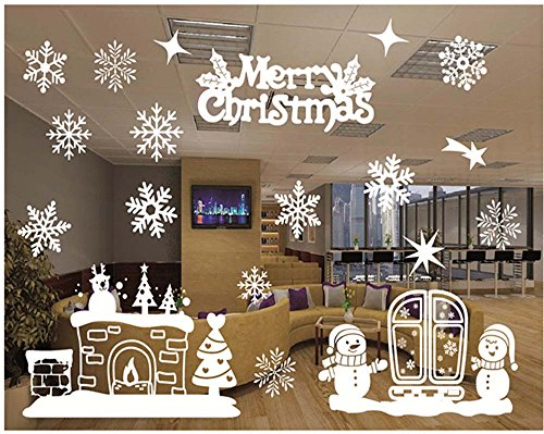 Natale vetrofanie adesivi murali rimovibile fai da te finestra decorazione vetrina wallpaper di neve christmas decor babbo pupazzo di neve (b)