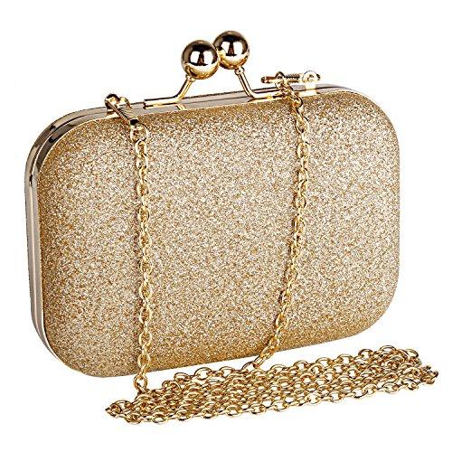 Beautyshow Clutch Glitter, Damen Abendtasche Glitter Clutch Elgegante Handtasche Kette Umhängetasche für Braut Hochzeit Party Abschlussball
