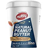 Nutty 100% Natural Peanut Butter (Crunchy) - 1250g, Unsweetened, No Sugar Added, High Dietary Fibre, High in Protein