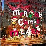 Jkxiansheng Animaux Renard Père Noël Joyeux Noël Fenêtre Autocollants Stickers Muraux Fête De Noël Décoration Flocons De Neige Fenêtre Décorer Renne