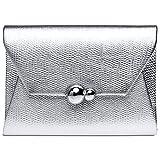 CASPAR TA427 elegante Damen Envelope Clutch Tasche mit Kroko Print, Farbe:silber;Größe:One Size