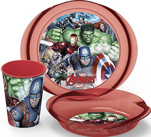 Boyz Toys Marvel Avengers Kids 3-teiliges Frühstücksset Abendessen Tasse Schüssel Teller Geschirr
