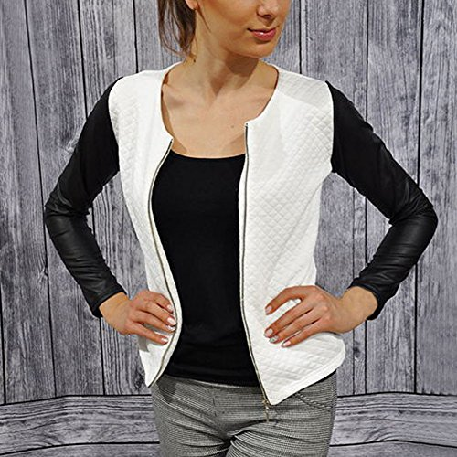 Etosell Femme Automne Patchwork Mode Jackets Womens Coats Blanc