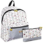 PERLETTI Emoji Schoolbag and Pencil Case - Backpack and Case for School and Free Time for Boy or Girl - Whatsapp Official Emoticons - 2 in 1 - White and Grey