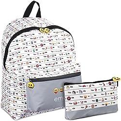 Mochila y Estuche Emoji para la escuela y el ocio para niño o niña - Emoticones oficiales de Whatsapp - 2 en 1 - Blanco y Gris - Perletti