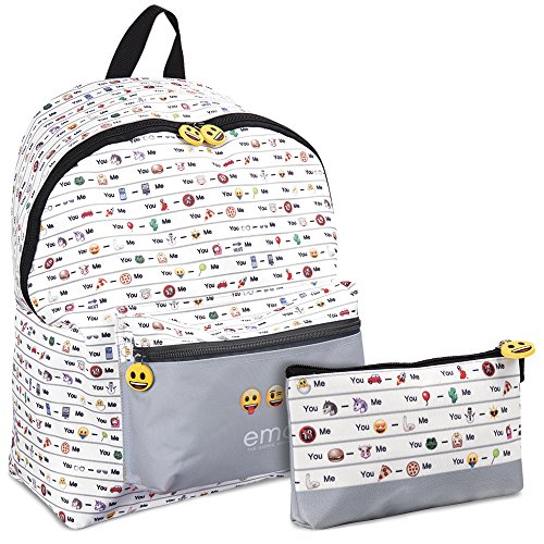 Schulmappe und Schuletui Emoji - Rucksack und Federmäppchen für die Freizeit für Junge oder Mädchen - Offizielle Emoticons von Whatsapp - 2 in 1 - Weiß und Grau - Perletti