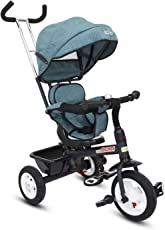 GoodLuck Baybee - 3 in 1 Convertible baby Tricycle kid's Trike with Canopy and Parental adjust push handle children tricycle/bicycle with Seat Belt Kid's Ride on Outdoor | Suitable For Boys & Girls (1 to 5 Years) - (Blue)