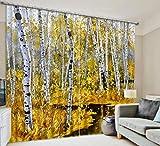 H&M Gardinen Vorhang Herbst weiße Birke ein warmer Schatten Tuch dekoriert Schlafzimmerfenster Vorhangstoff fertigen 3D-Druck , wide 3.2x high 2.7