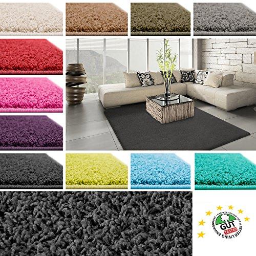 Floori Shaggy Hochflor Teppich - 200x290cm - moderner Wohnzimmerteppich - schwarz