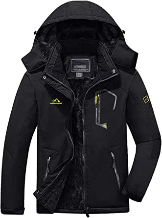 KEFITEVD Men's Winter Waterproof Ski Jackets Warm Fleeced Snowboarding Jacket Thermal Fishing Coats with Detachable Hood