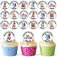 In The Night Garden Mix 24 Personalised Edible Cupcake Toppers / Birthday Cake Decorations - Easy Precut Circles