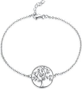 JO WISDOM Braccialetto Famiglia Albero della vita Argento 925 Donna con AAA Zirconia Cubica Bracciali Braccialetti,18cm+2cm