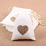 Corazón grabado yute saco bolsa lazo boda regalo bolsas dulces bolsas paquete de 10 piezas