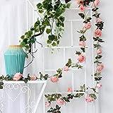 DULI Artificial Hanging Vine Flowers Garland Decorations(Light Pink,1 Piece)