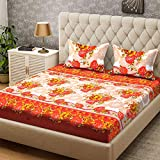Bombay Dyeing Double Bedsheet with 2 Pillow Covers - Rust