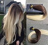 Sunny Ombre Braun zu Blond Keratin Bondings Echthaar Extensions 18Zoll/45cm Dip-dyed Remy Pre Bonded Haar Extensions 1g/Strahne 50gramm