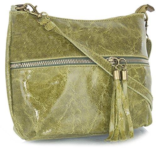 Big Handbag Shop donna vera pelle tasca frontale lunga Tassel Estrattore Borsa Medium Olive