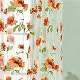 jhtceu Romantischer Vorhang mit Blumenmuster, für Schlafzimmer und Fenster rot