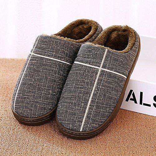 YMFIE Mesdames et messieurs lhiver PU antidérapant imperméable coton chaussons chaussons chaussures chaudes I
