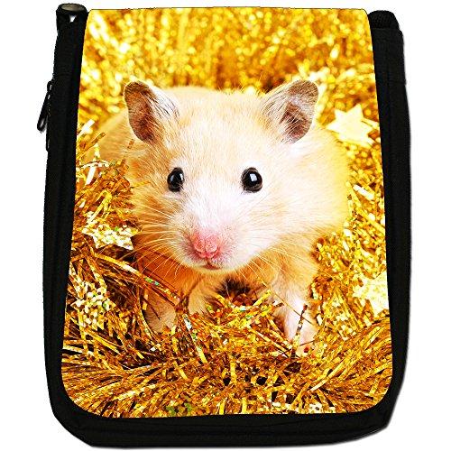 Criceto Medium Nero Borsa In Tela, taglia M Cute Hamster In Tinsel