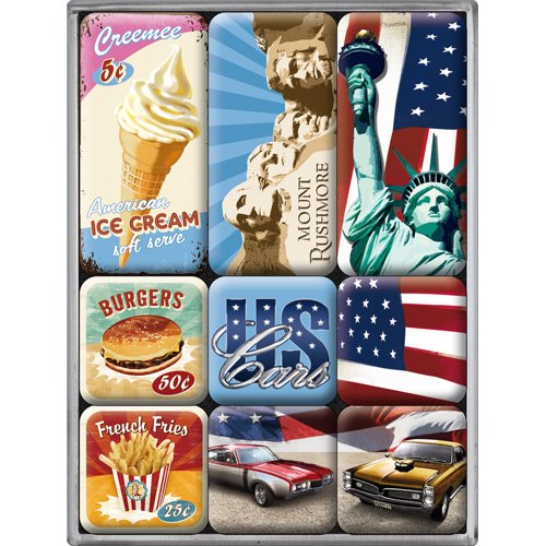 nostalgic art 83038 usa american way of life magnet set 9 teilig. Black Bedroom Furniture Sets. Home Design Ideas