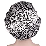 Kingnew Frauen schlafen Hut Nacht Schlaf Cap Schal Bonnet Nightcap für Frauen schwarz und weiß