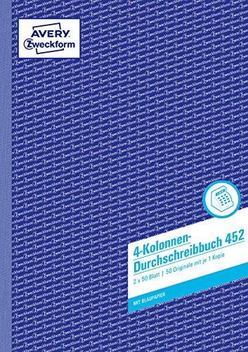 Avery Zweckform 452 Kolonnen-Durchschreibbuch 4 Kolonnen (A4, mit 1 Blatt Blaupapier, 2x50 Blatt) weiß