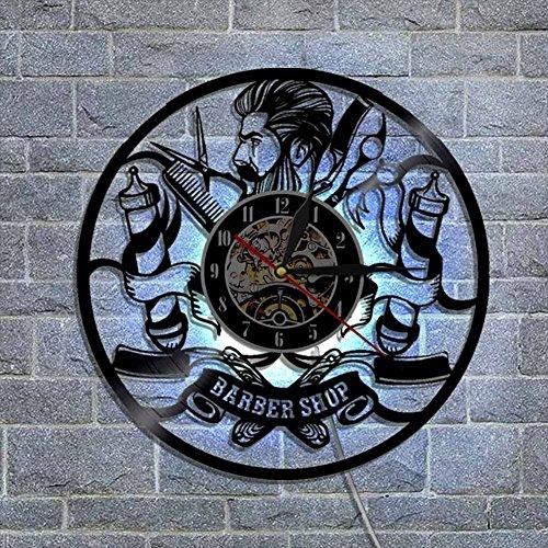 NACHEN Friseurgeschäft Professionelle Vinyl Wanduhr mit LED Licht Handmade Art Haarschnitt Mauer Uhr mit Fernbedienung Controller,Black,Diameter12inch