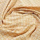Stoff Baumwolle Elastan Single Jersey Blümchen ocker weiß