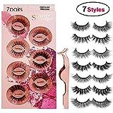 Fake Eyelashes 7 Styles, Face Eyelashes 3D Faux Mink Eyelashes Thick Long Multilayer