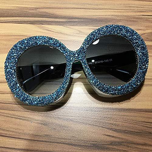 LKVNHP Luxury übergroßen Sonnenbrille Frauen Vintage Strass Sonnenbrille runde Rahmen gradienten Spiegel Shades für Frauen oculosblau
