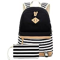 misognare Canvas College Student Bag Laptop USB Backpack High School Rucksack for Men Women (Black)