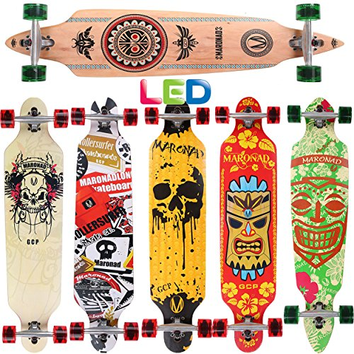 [Maronad.GCP]® Longboard Skateboard drop through Race Cruiser ABEC-11 Skateboard 104x24cm Streetsurfer skaten INDIAN LED Leuchtrollen