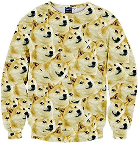 Pizoff Unisex Hip Hop sweatshirts with 3D Digital printing 3D Pattern Shiba Inu emoji Y1759-64-L