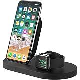 Belkin Boost Up drahtlose Ladestation (mit USB-A-Anschluss, geeignet für iPhone XS, XS Max, XR, X, 8/8 Plus und Apple Watch 4, 3, 2, 1) schwarz