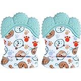 Paquete de 2 manoplas de dentición para bebés BPA lavables y duraderas manoplas de dentición para bebés guantes de protección
