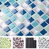 4er Set 25,3 x 25,3 cm blau türkis silber Fliesenaufkleber Design 2 I 3D Mosaik verschiedene Farben und Größen Küche Bad Grandora W5193