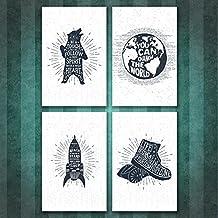 Juego de cuatro 11x 17negro y blanco Inspirational carteles, nuevos carteles de motivación Set con 4diferentes citas, inspirador Regalos. Promoción de pared hangins para niños. Gimnasio en casa frases de motivación.