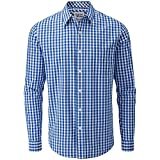 Charles Wilson Originals Kariertes Gingham Langarm Freizeithemd (Large, Blue)